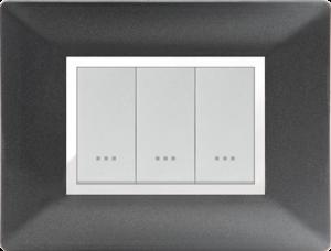 Plaque cache alpha stiel technopolymere 3 interrupteurs modules noir métallisé
