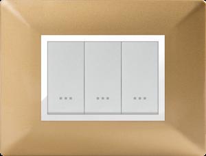 Plaque cache alpha stiel technopolymere 3 interrupteurs modules Doré