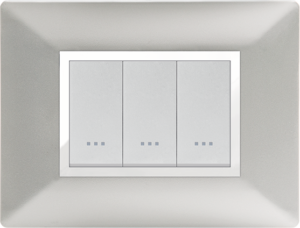 Plaque cache alpha stiel technopolymere 3 interrupteurs modules Silver