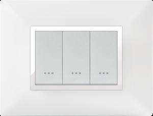 Plaque cache alpha stiel technopolymere 3 interrupteurs modules blanc chromé