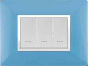 Plaque cache alpha stiel technopolymere 3 interrupteurs modules bleu pastel