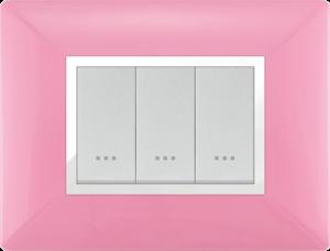 Plaque cache alpha stiel technopolymere 3 interrupteurs modules rose