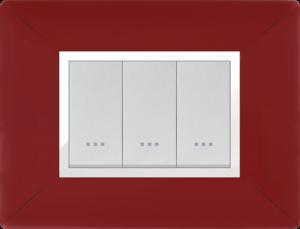 Plaque cache alpha stiel technopolymere 3 interrupteurs modules rouge bordeaux