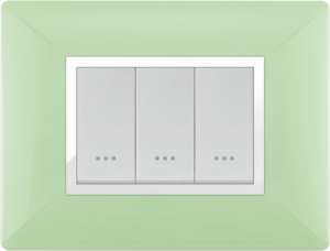 Plaque cache alpha stiel technopolymere 3 interrupteurs modules vert anis